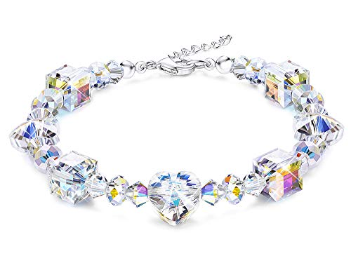 (KesaPlan Crystals Bracelet for Women Girls Heart Bead Stretch Bracelets Made with Swarovski Crystals, Jewelry for Her, 7
