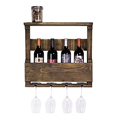 DAKODA LOVE - The Original Wine Rack, USA Handmade Reclaimed Wood, Wall Mounted, 4 Bottle 4 Long Stem Glass Holder & Shelf (Dark Walnut)
