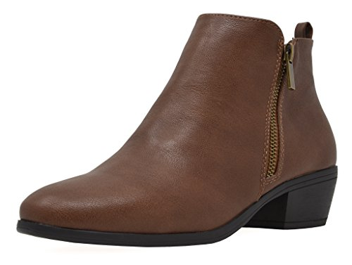 TOETOS Women's Pitts-06 Brown Pu Block Heel Side Zipper Ankle Booties Size 7 M US