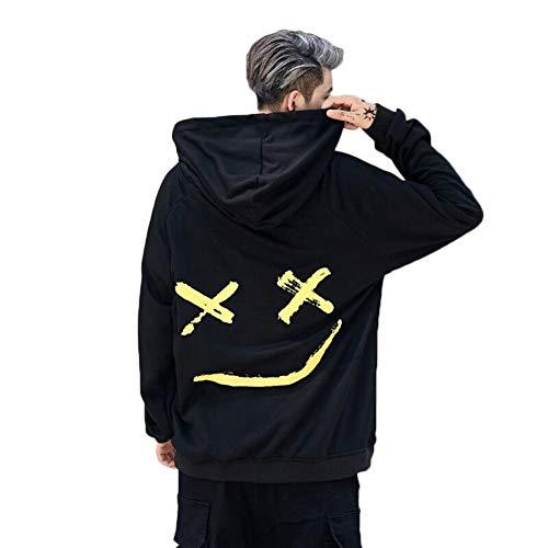 Hooded Sweatshirt Assistant (Yunn Hoodies Sweatshirts Men Women Color Block Patchwork Smile Print Hoodie Hip Hop Streetwear Men Clothing)