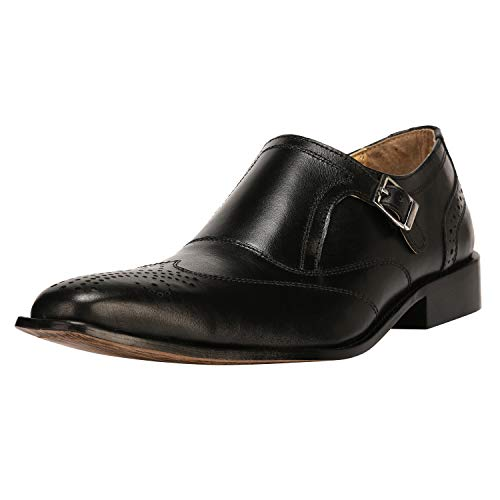 Mens Double Buckle Wing Tip Dress Shoe 13 BLACK