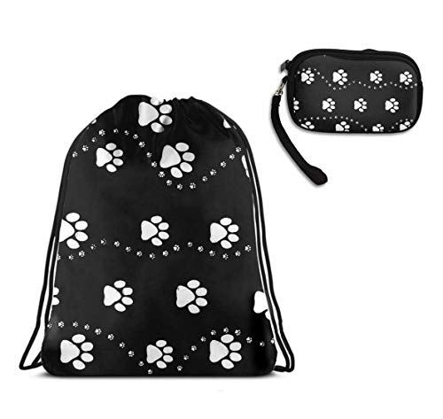 - YongColer Drawstring Bag Backpack Daypack Cinch Tote Bag, Cosmetic Bag Coin Cash Purse Zipper Pouch Wristlet Bag Clutch Wallet - Dog Paw Print Style Black (2 Pack Set)