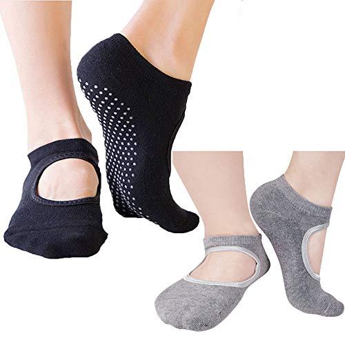 2 Pairs Non Slip/Skid Yoga Socks For Women,Pilates,Barre,Ballet,Trampolines,Bikram,Grip Sox(Black+Gray)