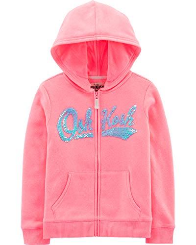 Osh Kosh Girls' Little Full Zip Logo Hoodie, Sweet Pink, 7 ()