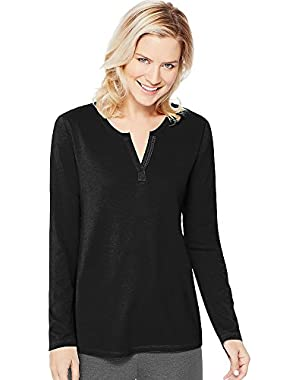 Women's Hanes Lightweight Split Neck Tunic_New Ebony