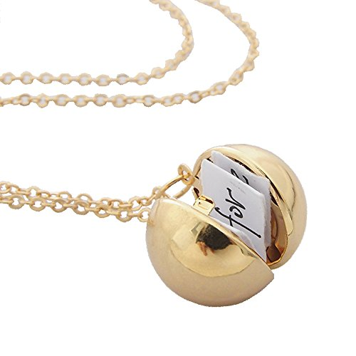 Gold-Tone Secret Message Ball Locket Necklace,Secret Message Ball Pendant Locket Chain Jewelry Necklace Gifts. - Ball Locket Photo