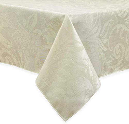 Autumn Scroll Damask Town & Country Fall Winter Harvest Fabric Tablecloth, Ivory (60