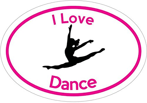 DANCE Decal - Oval HOT PINK I Love Dance Vinyl Sticker Dance Gift - Dance Mom - Dance Bumper Sticker - Perfect Dance Mother Instructor Gift - Made in the (Balerina Costumes)