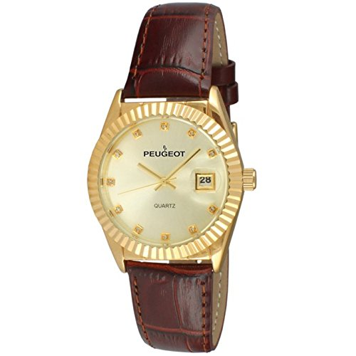 14k Ladies Watch - Peugeot Women's 14K Gold Plated Coin Edge Bezel Brown Leather Band Dress Watch 3045BR