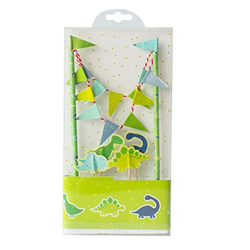 Cute Animals Zoo Dinosaur Cake Bunting Toppers Flag Banner Picks Wrap Decorating Kit for Children Kids Birthdays Forest Party Favors (Cute Halloween Cakes Birthday)