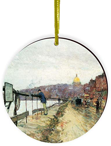 Rikki Knight Childe Hassam Art Charles River und Beacon Hill Design Round Ornament/Car Rear View Mirror Hanger (Mirror Charles Round)