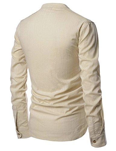 Camisas Henley beige Lino Larga Hombres Amada Cuello Look Manga Diario Nearkin Nknkn351 Opd7zwAxq7