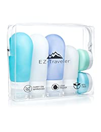 Silicone Travel Bottles and EVA Toiletry Bag - TSA & Airline Approved, refillable Travel Bottles and Containers for Creams, Liquids and Gels.