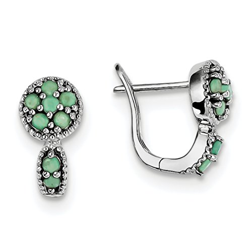 ICE CARATS 925 Sterling Silver Green Emerald Circle Hinged Earrings Drop Dangle Fine Jewelry Gift Set For Women Heart by ICE CARATS