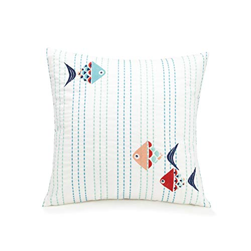 Fish Giant Pillows (Vera Bradley GO Fish Decorative Pillow, 16X16'', White)