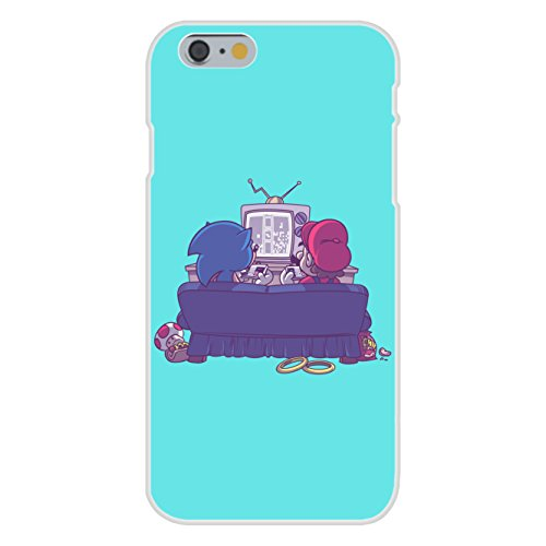 """Apple iPhone 6 Custom Case White Plastic Snap On - """"Epic Battle"""" Funny Video Game Characters Parody"""