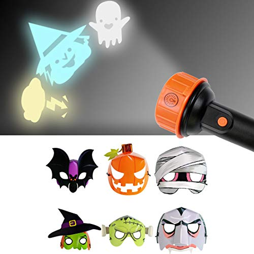 WEYFLY Halloween Projection Flashlight with 12 PCS Fluorescent Paper Mask -