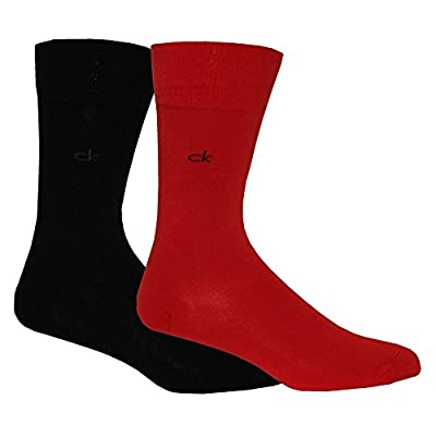 Calvin Klein 2-Pack Flat-Knit Men's Socks, Red/Black