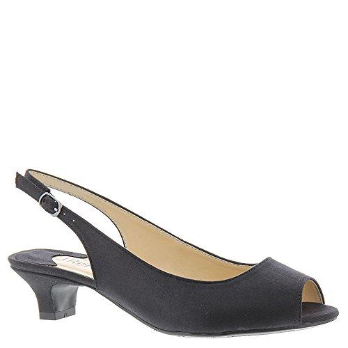 J. Renee Women's Jenvey Low Heel Slingback,Black Satin,US 8 M