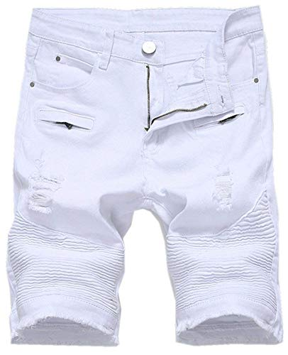 (chouyatou Men's Cool Stylish Wrinkle Performance Slim Ripped Denim Shorts (36, White))