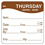 DayMark IT1100354 MoveMark Day of the Week Removable Label, Thursday, Item/Date/Use By, 2