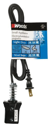 Woods 0291 HPN Small Appliance Cord, 6-Foot, Black (Waffle Iron Power Cord)