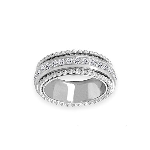 Sterling Silver Cubic Zirconia Round Polished Spinner Band Ring, Size 6