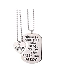 Father Daughter Necklace Set Handstamped There's This Girl Who Stole My Heart She Calls Me Daddy Matching Daddys Girl Heart