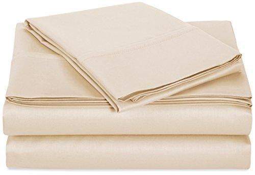 AmazonBasics 400 Thread Count Sheet Set, 100% Cotton, Sateen Finish - Twin, Beige