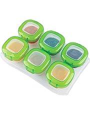 Afufu Pojemniki do przechowywania żywności dla niemowląt, pojemniki do przechowywania żywności dla małych dzieci zamrażarka z pokrywkami zamek świeżości, mini taca na żywność zamrażarka dla dzieci i niemowląt, 120 ml opakowanie 6, nadaje się do kuchenki mikrofalowej / zamrażarki / zmywarki