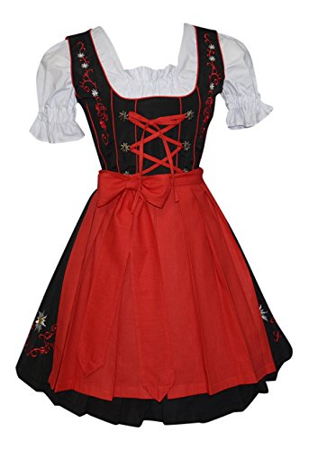 [3-piece Short German Party Oktoberfest Dirndl Dress Black & Red (12)] (German Dress)