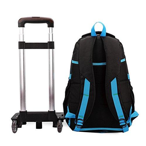 borsa trolley - SODIAL(R)Zaino borsa trolley scuola in tela da viaggio libri computer tablet pc (blu)