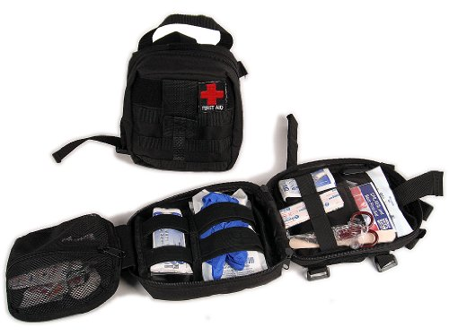 Jeep Truck SUV Car First Aid BAG and 50 Piece First Aid Kit attaches to Roll Bar or Fits Under Seat / Trunk Area