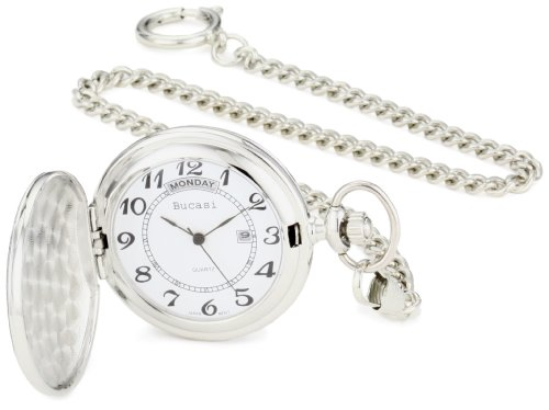 Bucasi PW1000SS Easy to Read Numbers Silver Tone Chain Pocket Watch (Pocket Silver Date Watch)