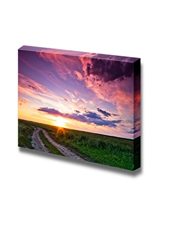 Beautiful Sunset and Country Road on Green Field Home Deoration Wall Decor ing