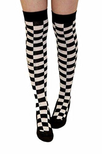 Ladies Mens Girls Boys Stripe Argyle Referee Check Lycra Cotton Plain Bow Ankle Over The Knee Socks (Foot Size 4-6, Black/White Checkered)