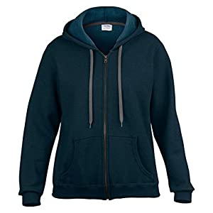 Gildan Women's Classic Full Zipper Hooded Sweatshirt, Blackberry, X-Large