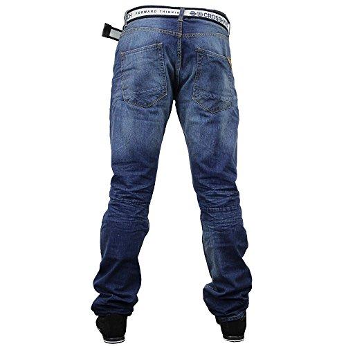 Herren Jeans Denim Ringspun Hose GRATIS GÜRTEL Straight Leg Designer - Mittlere Waschung - GAMITTO, 48W x Short