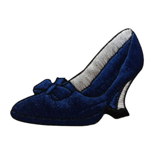 ID 7782 Blue High Heel Shoe Patch Fashion Pump Bow Embroidered Iron On Applique.You've seen them on jackets, jeans, shirts, backpacks, even sneakers Bow Trim Pump