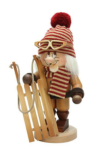 German Incense Smokers Gnome Bobsleigh Rider - 31cm / 12 inch - Christian Ulbricht by Authentic German Erzgebirge Handcraft