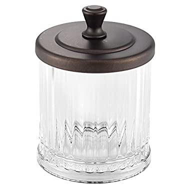 InterDesign Alston Bathroom Vanity Canister Jar for Cotton Balls, Swabs, Cosmetic Pads - Clear/Bronze