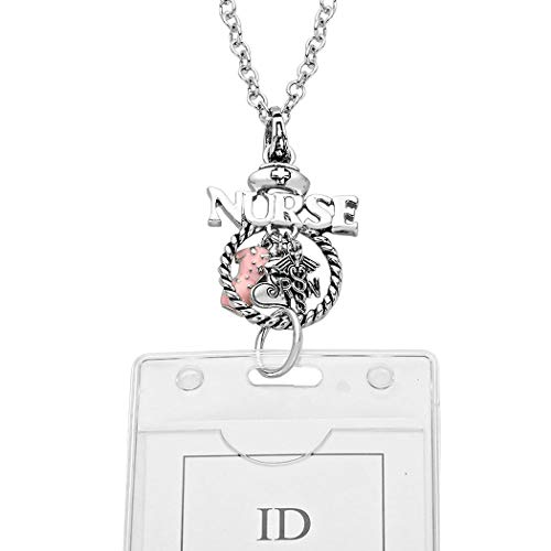 (Rosemarie Collections ID Holder Employee Badge Nurse R/N Appreciation Gifts Silver Tone)
