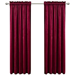 Sideli Solid Rod Pocket Matt Heavy Velvet Curtain Drape Panel Blackout Super Soft in Theater| Bedroom| Living Room| Hotel 1 Piece (52-Inch-by-84-Inch, Burgundy-rod pocket)