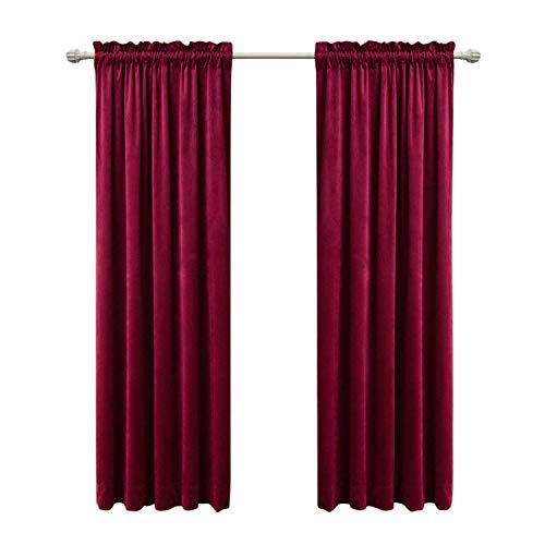Sideli Solid Rod Pocket Matt Heavy Velvet Curtain Drape Panel Blackout Super Soft in Theater| Bedroom| Living Room| Hotel 1 Piece (52-Inch-by-84-Inch, Burgundy-rod pocket)