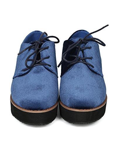 Alrisco Women Velvet Lace Up Platform Oxford Loafer Creeper - HG73 by Betani Collection Blue Velvet W0dR9