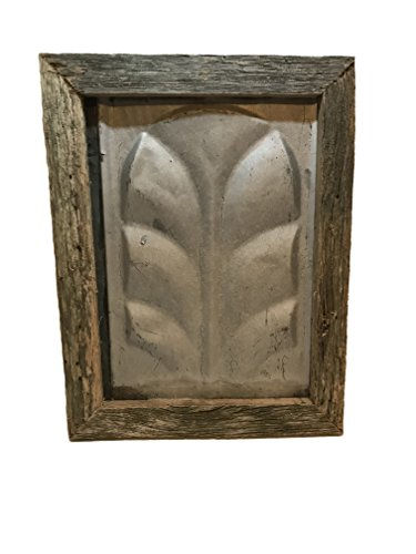 Antique Rustic Farmhouse Ceiling Tin. Rustic Reclaimed Salvaged Antique Tin Framed with Reclaimed Wood found in Tennessee.