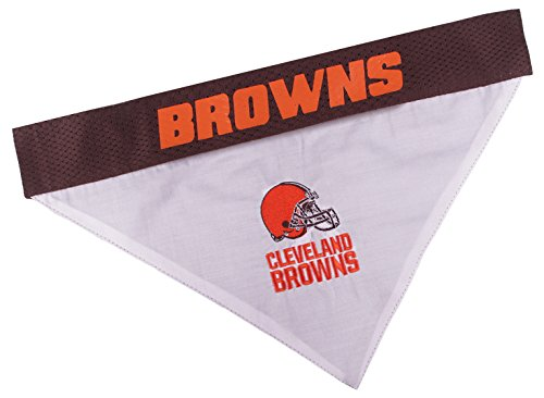 Pets First NFL DOG BANDANA - CLEVELAND BROWNS REVERSIBLE PET BANDANA. 2 Sided Sports Bandana with a PREMIUM Embroidery TEAM LOGO, Large/X-Large. - 2 Sizes & 32 NFL Teams available