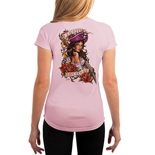 (SAND.SALT.SURF.SUN. Pirate Girl Women's UPF 50+ Short Sleeve T-Shirt Medium Pink Blossom)