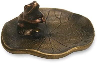 香立・香皿 蓮に蛙 香立て 小 銅製