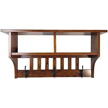 Amazon.com: Perchero de madera estante montado en la pared ...